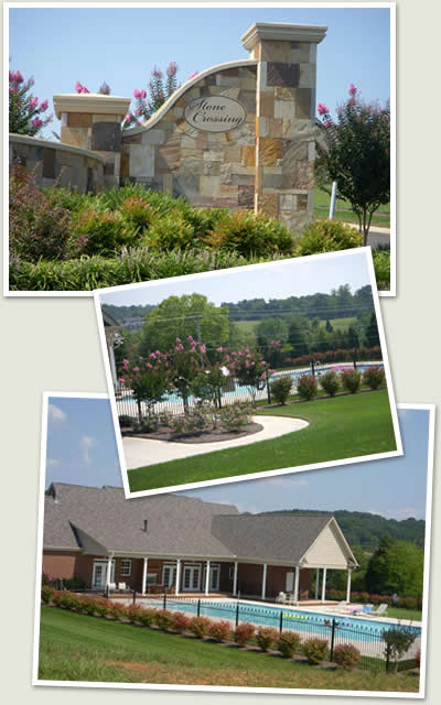 Photos of Stone Crossing entrance, clubhouse and pool.